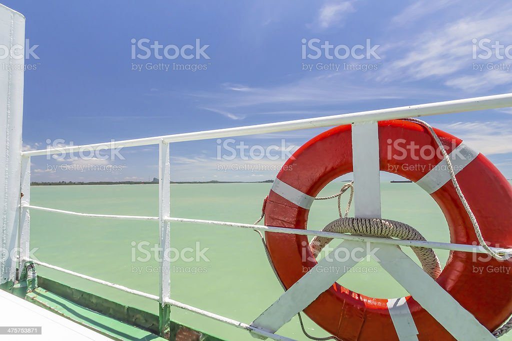 Red buoy on ship and seascape royalty-free stock photo