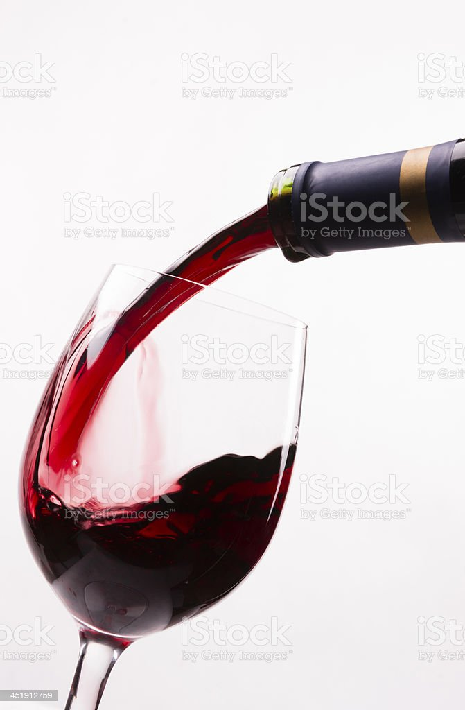 Red Burgundy Wine Drink Filling Stemmed Glass Alcohol Liquid Refreshment stock photo