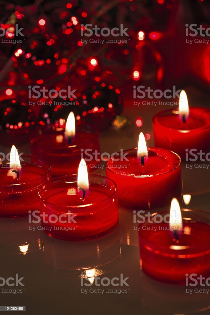 red burning candles royalty-free stock photo