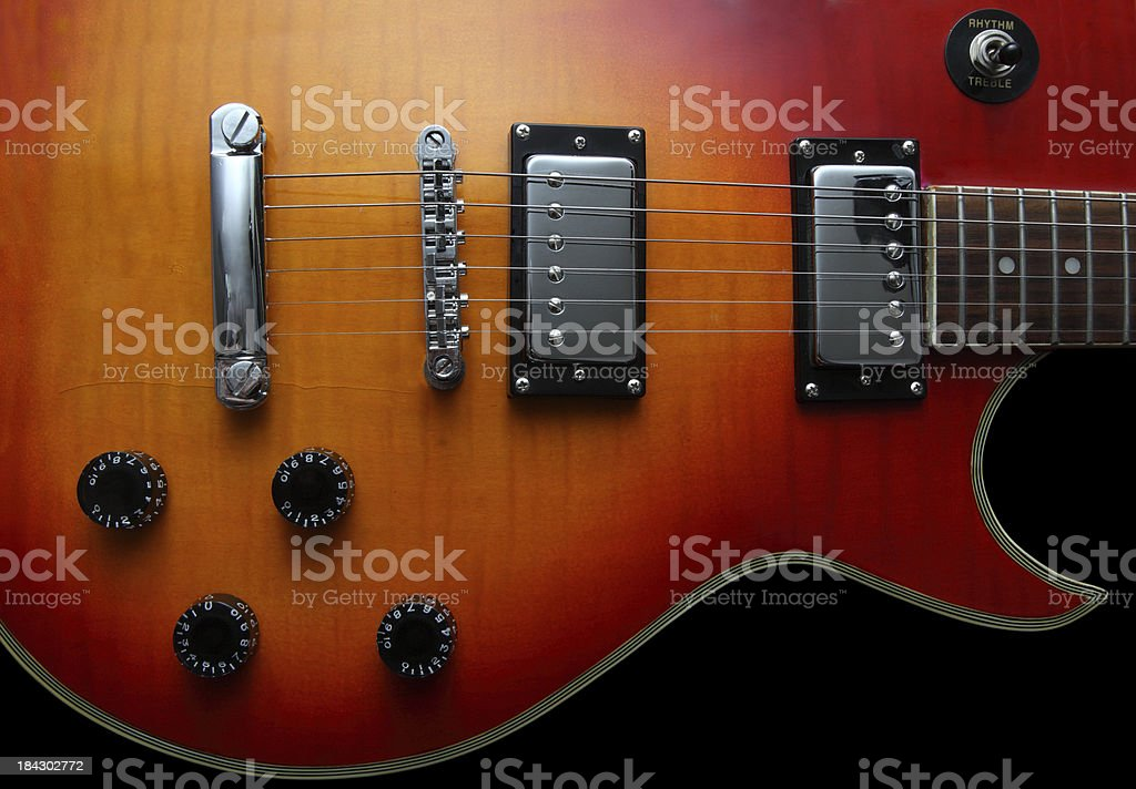 Red Burst Guitar stock photo