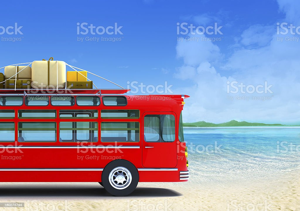 red bus adventure on beach stock photo