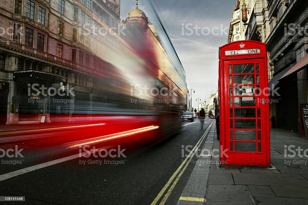 Red Bus and Phone booth in London stock photo