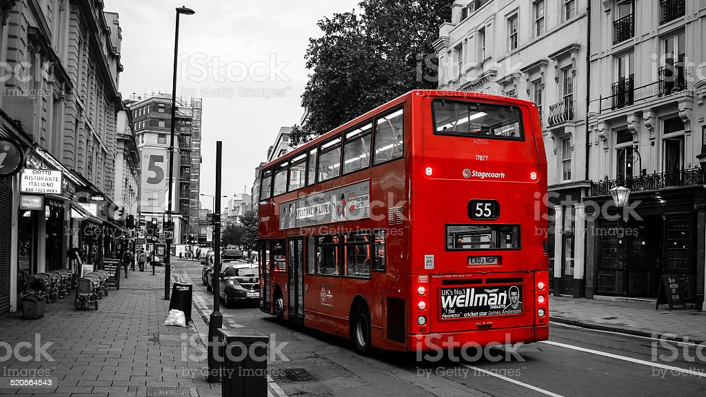 Red bus in England stock photo