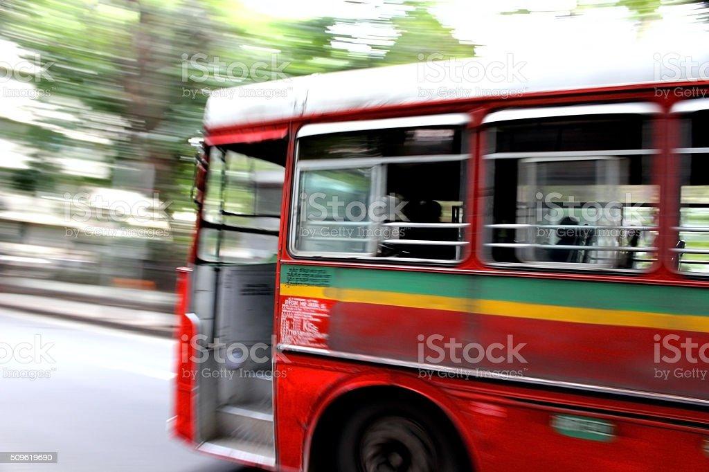 Red Bus taking Turn stock photo