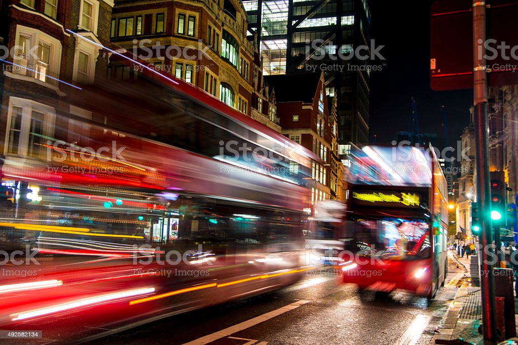 Red Busses on London Streets stock photo
