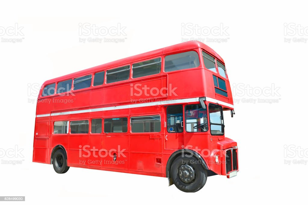 Red bus,with Clipping Path stock photo