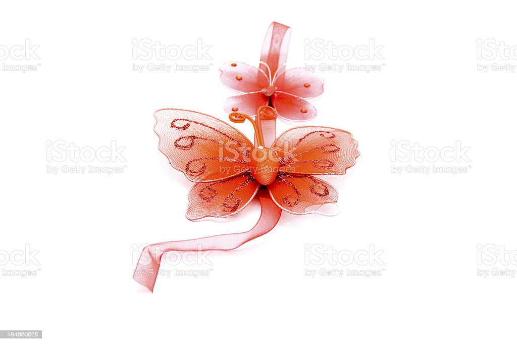 Red Butterfly with Ribbon on white background stock photo