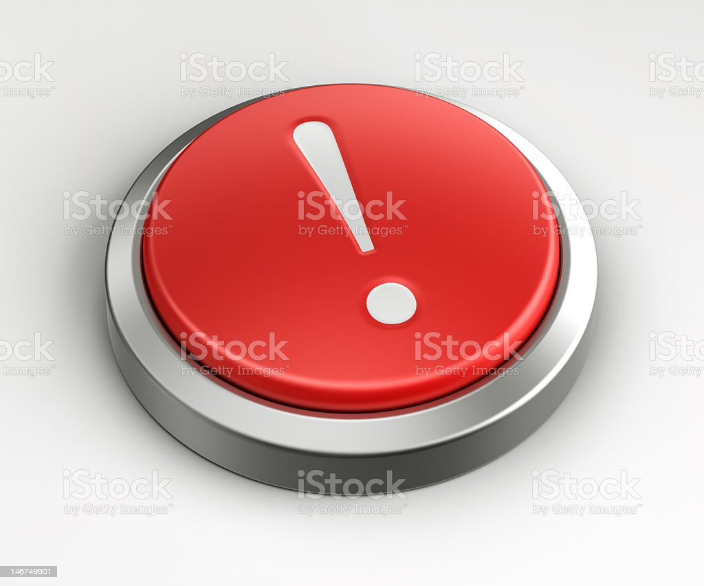 Red button - exclamation point royalty-free stock photo
