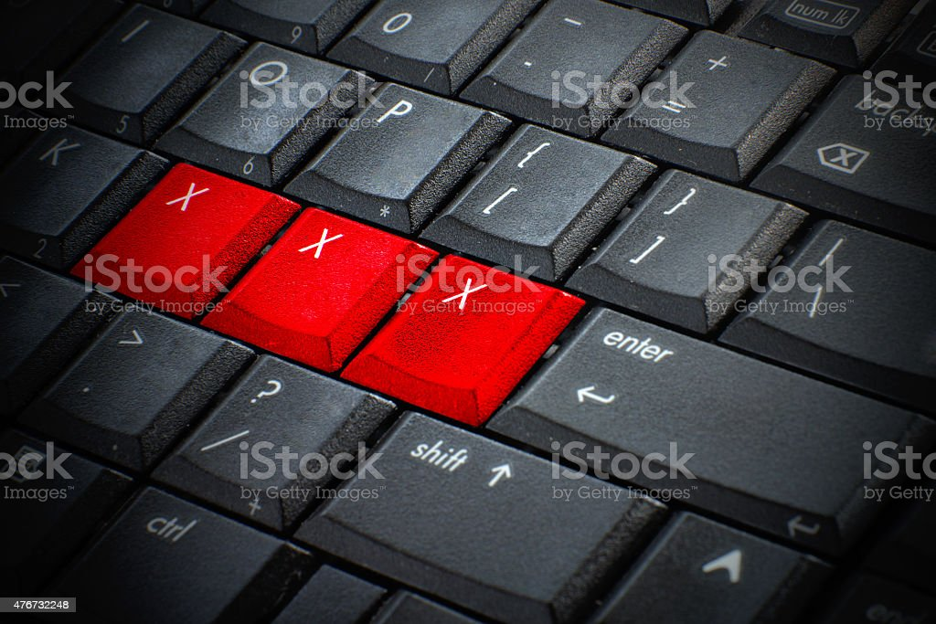 Red button Keywords xxx on keyboard computer, Adult sex online stock photo