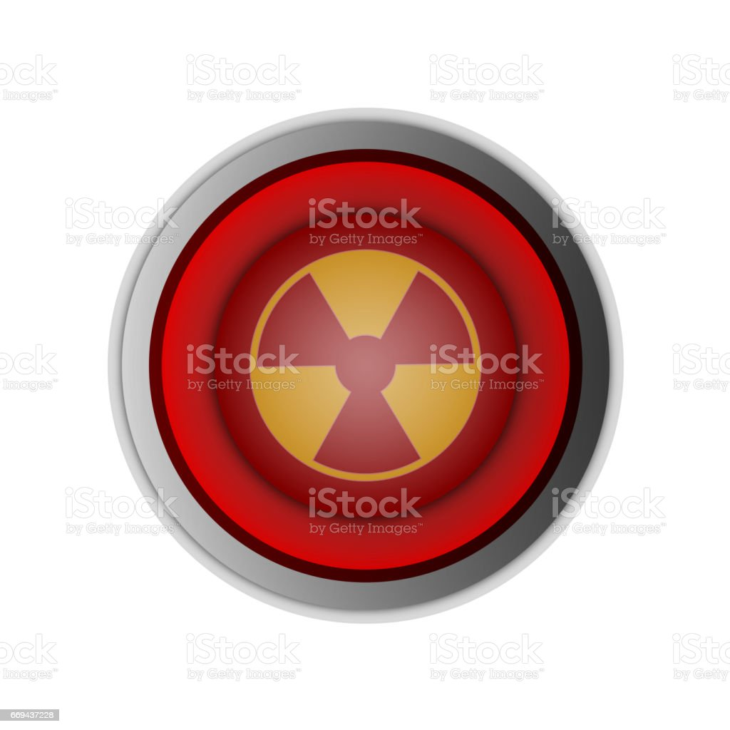 red button push for start nuclear bomb stock photo