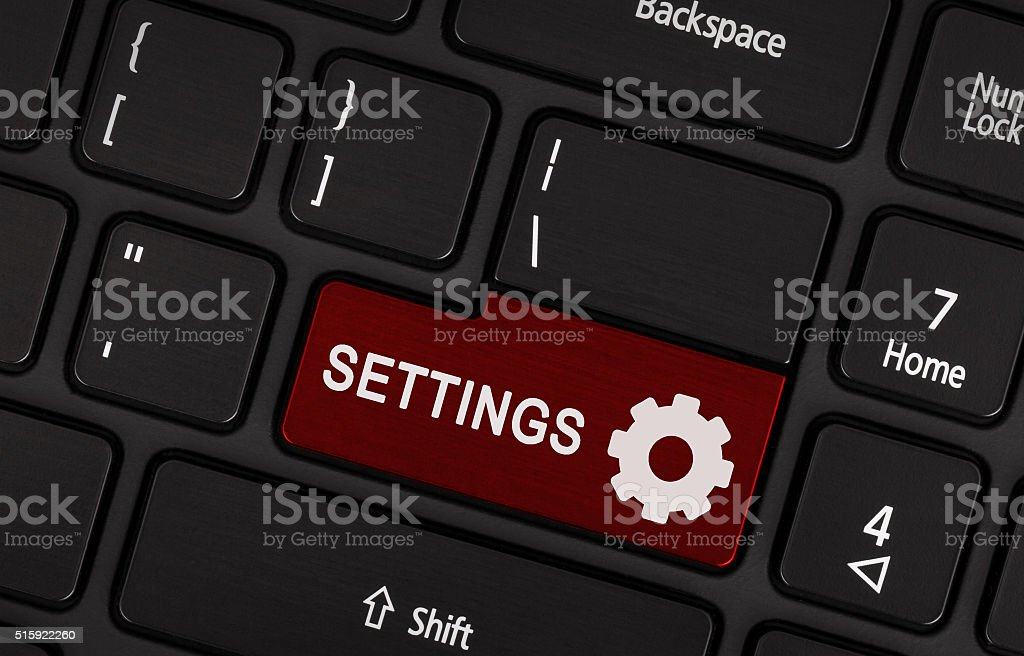 Red button Settings stock photo