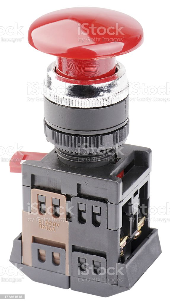 Red button switch isolated royalty-free stock photo