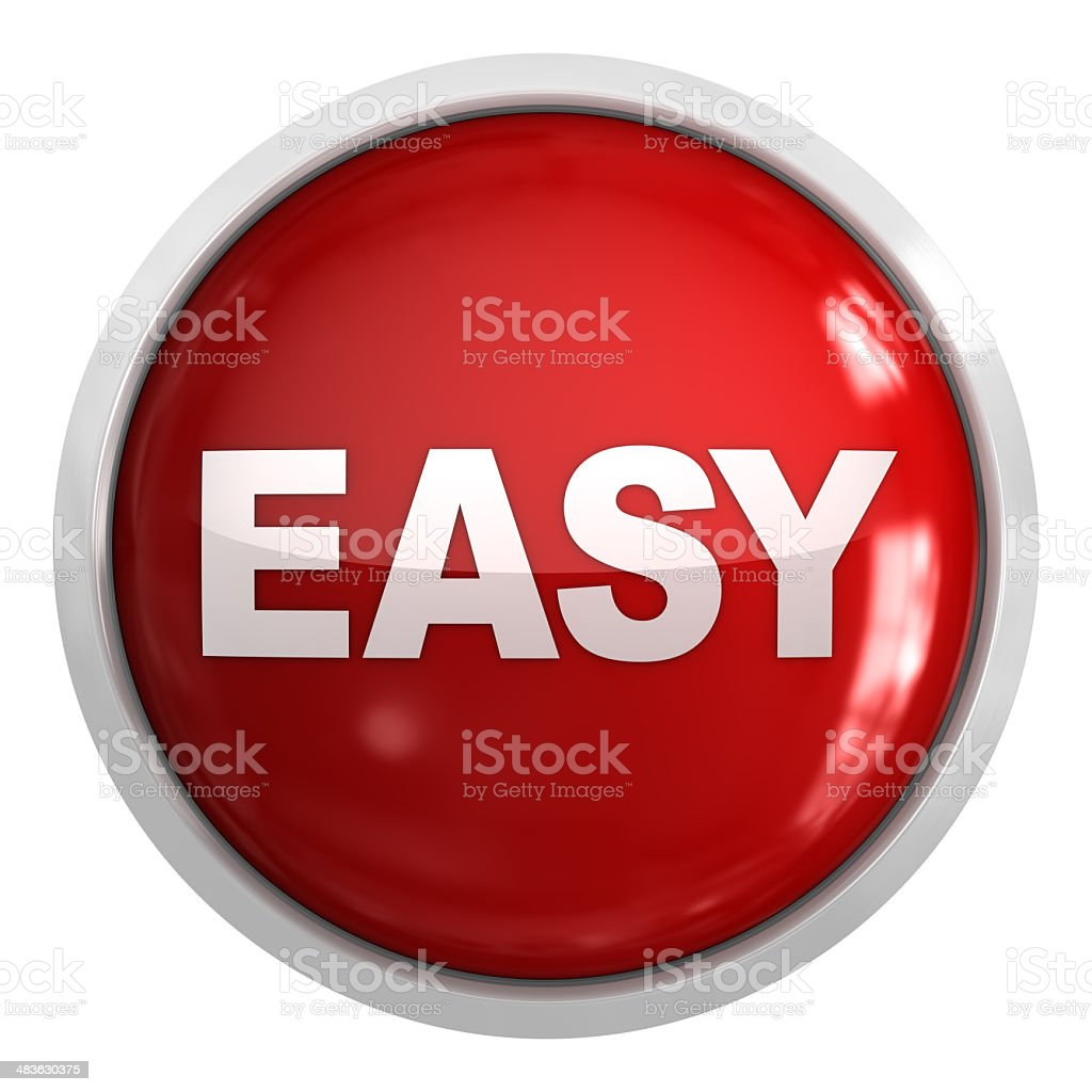 3D red button with white 'EASY' in center stock photo