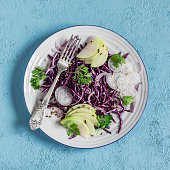 Red cabbage and apple slaw. Vegetarian diet food.