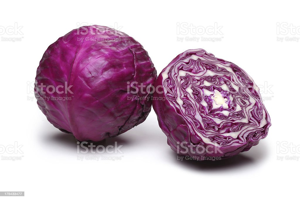 Red cabbage leaves stock photo