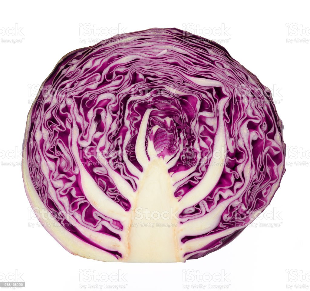 Red cabbage portion on white stock photo