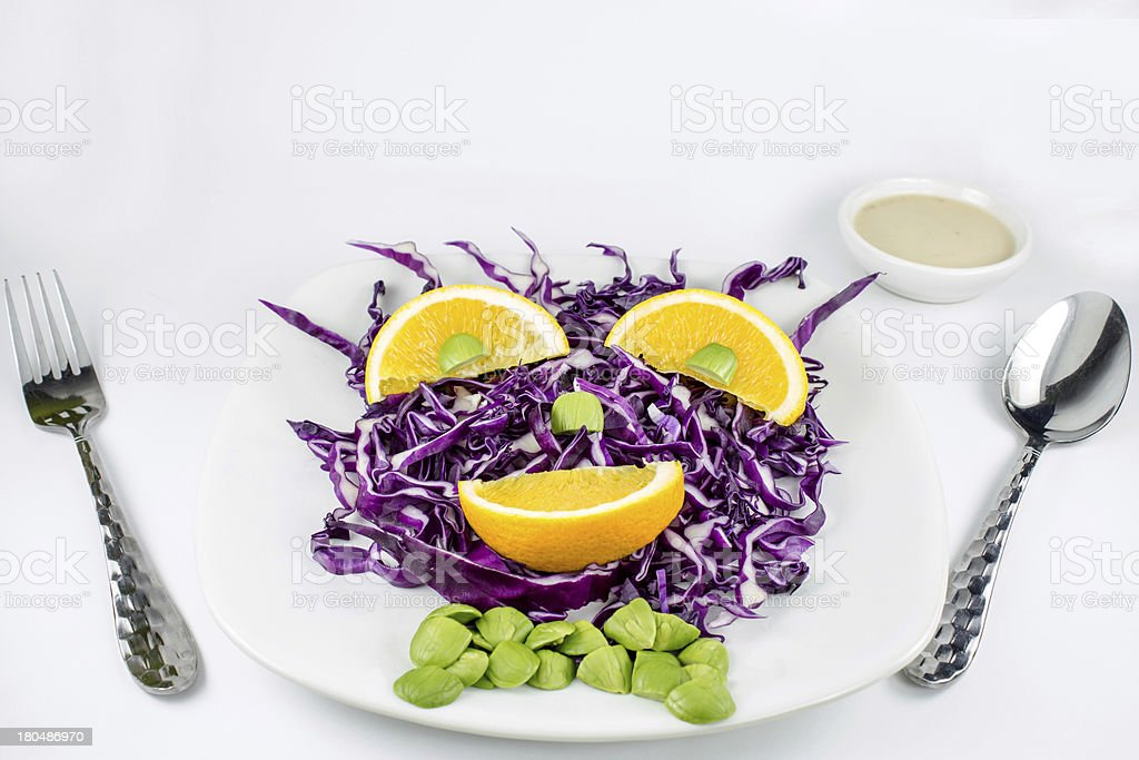Red Cabbage salad with orange royalty-free stock photo