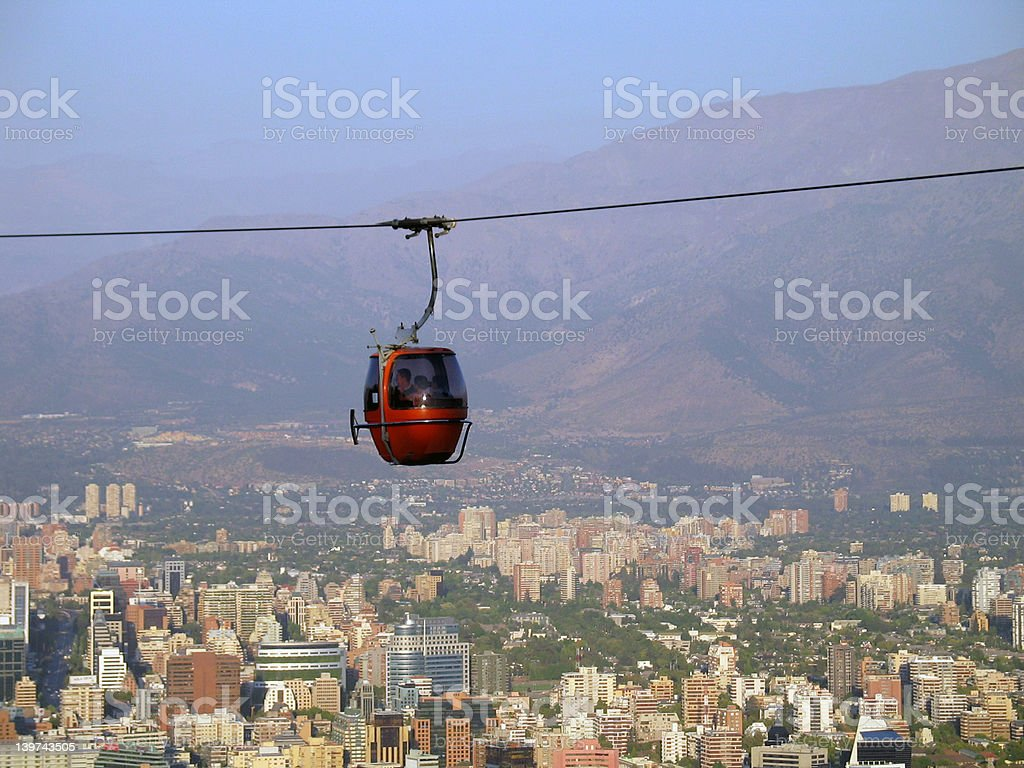 Red Cable Lift over Santiago de Chile stock photo