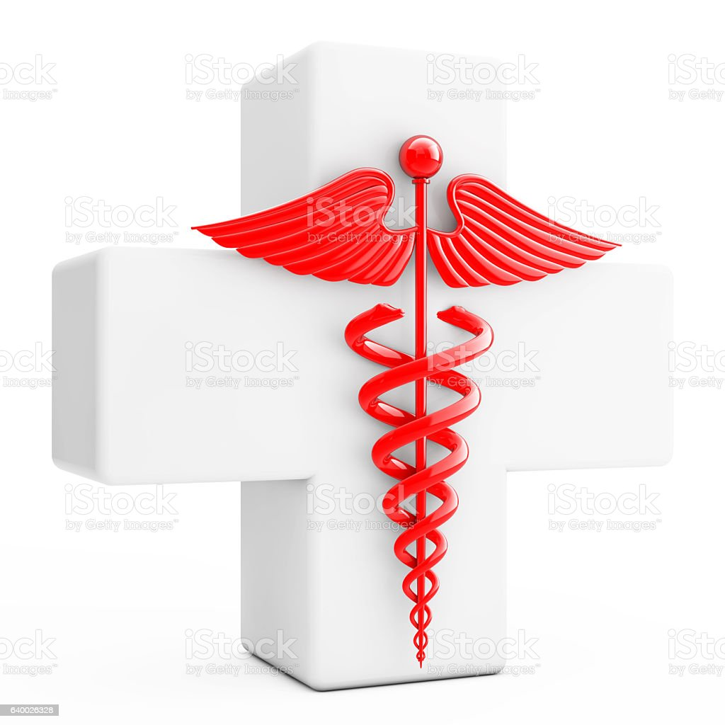 Red Caduceus Symbol  in front of White Cross. 3d Rendering stock photo