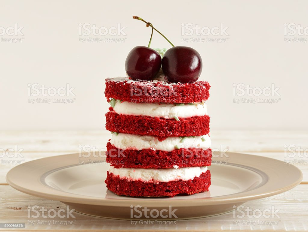 red cake with cherry stock photo