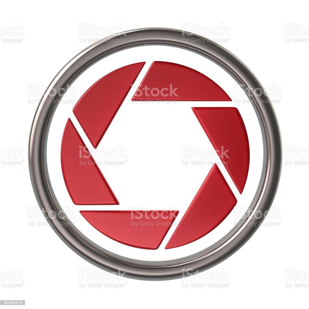 Red camera shutter icon stock photo
