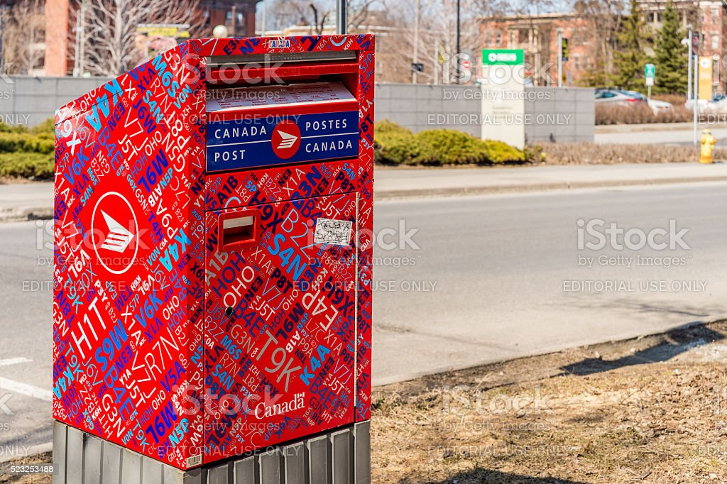 Red Canada Post mailbox stock photo