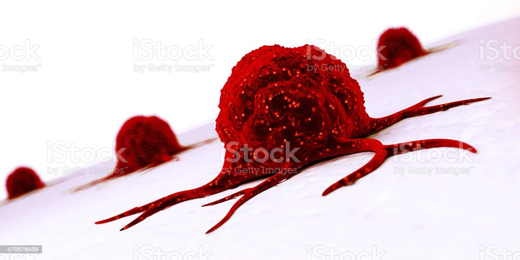 A red cancer cell on a wall in 3D royalty-free stock photo