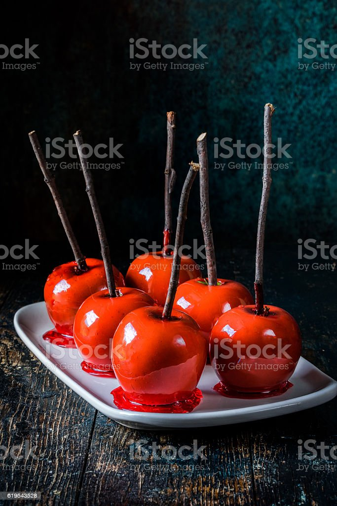 Red Candied Apples stock photo