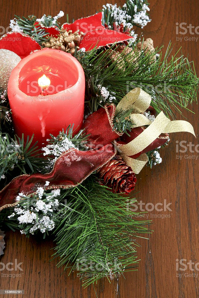 Red Candle Christmas Table Decoration stock photo