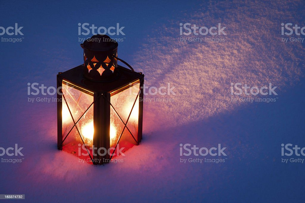Red Candle Lantern In Snow royalty-free stock photo