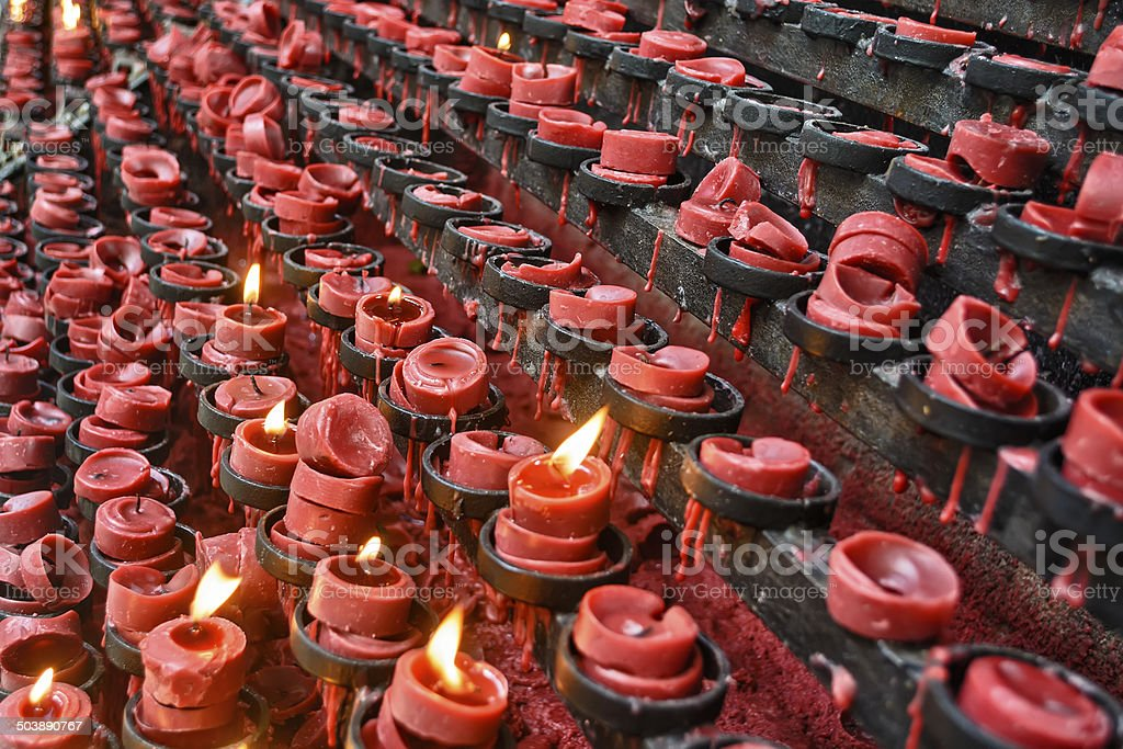Red Candle Offereings stock photo