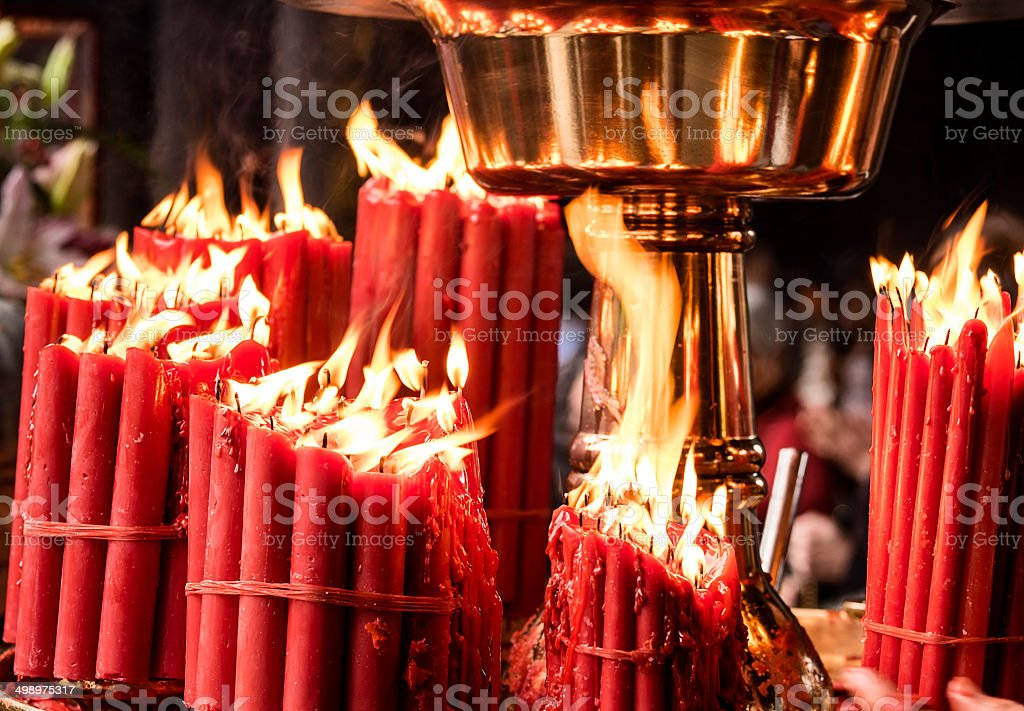 Red Candles In Temple stock photo