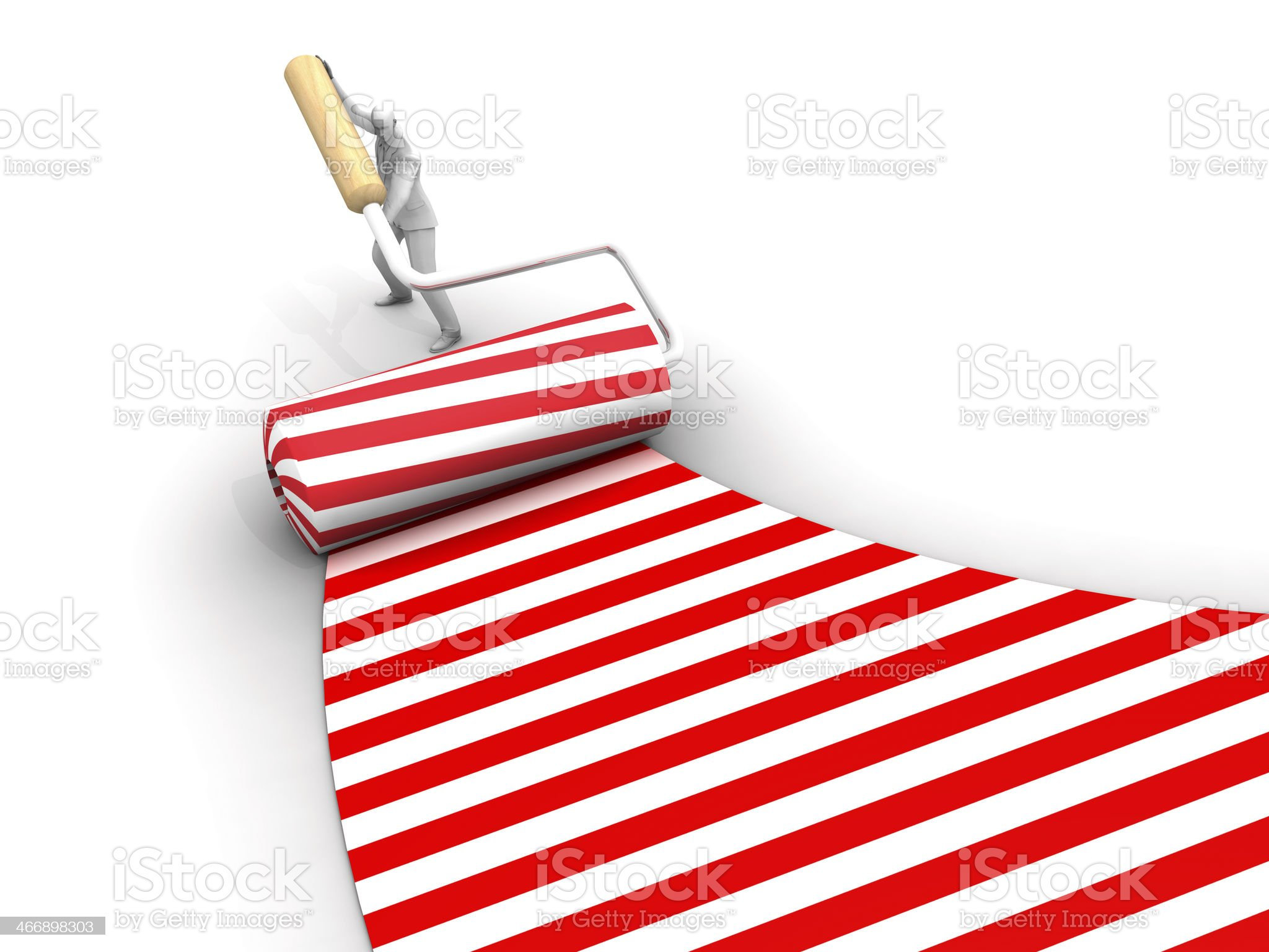 Red Candy Roller Brush Marks and Man royalty-free stock photo