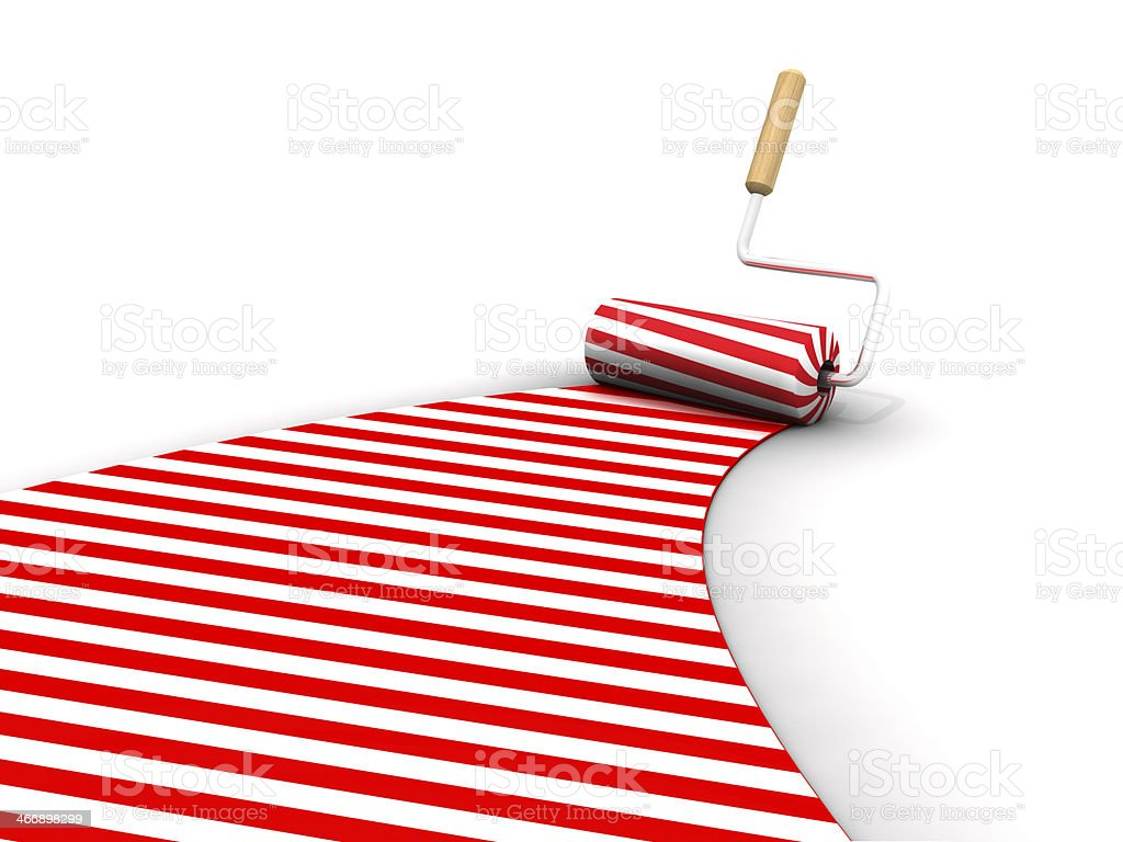 Red Candy Roller Brush Marks On The Ground royalty-free stock photo