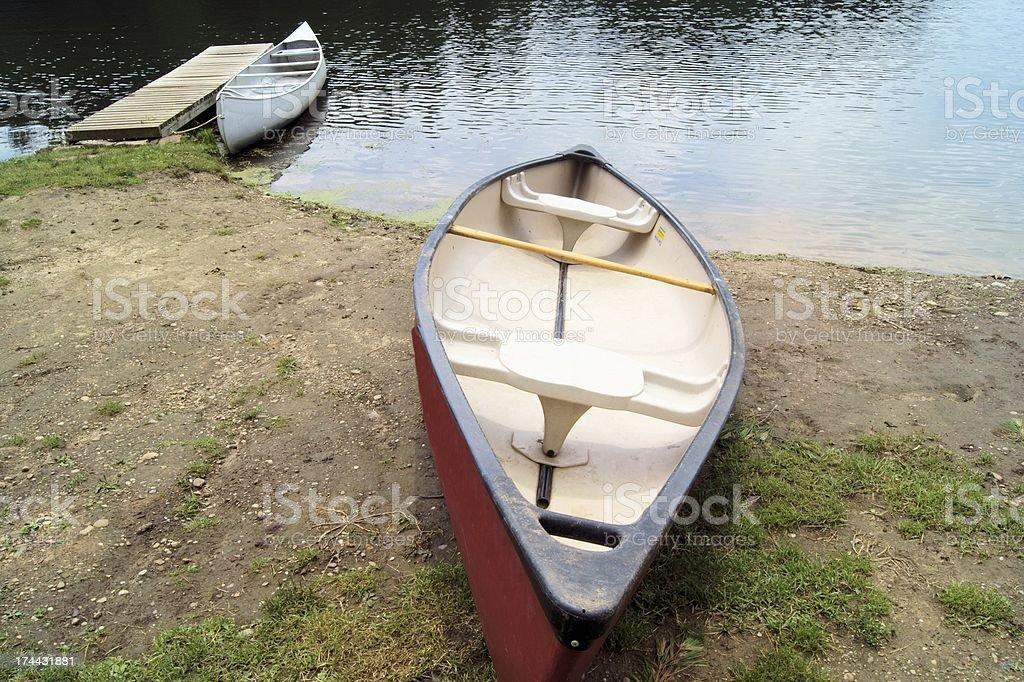 Red canoe at lake. royalty-free stock photo