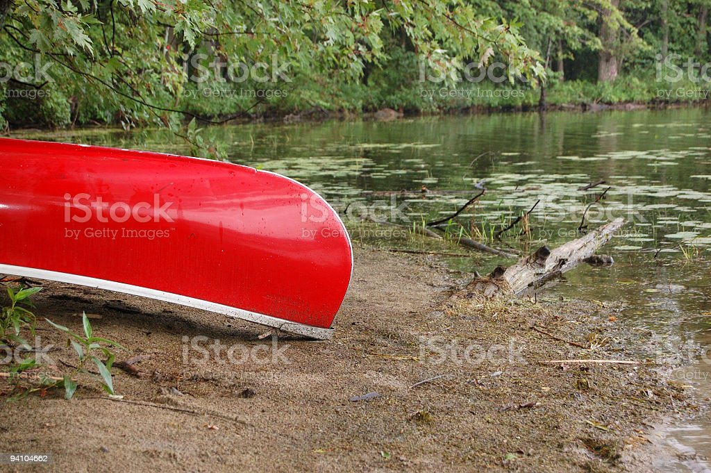 Red Canoe stock photo