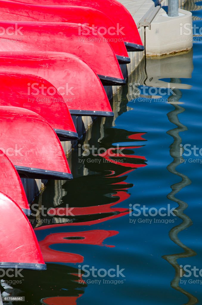 Red Canoe Reflections stock photo