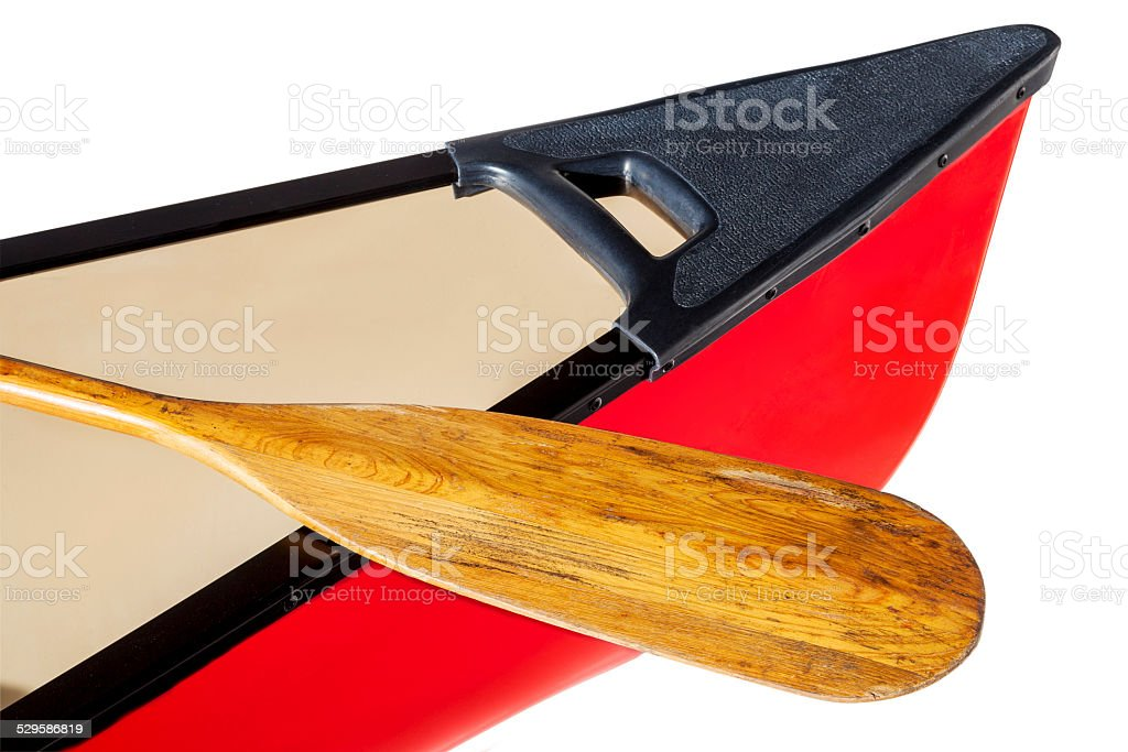 red canoe with paddle stock photo