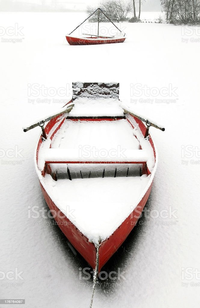 red canoes stock photo