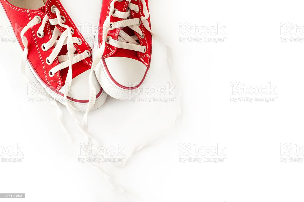 Red canvas shoes stock photo