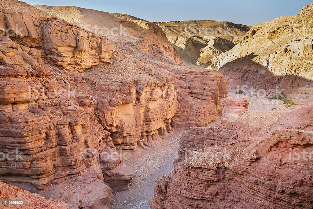 Red canyon in mountains of Eilat stock photo