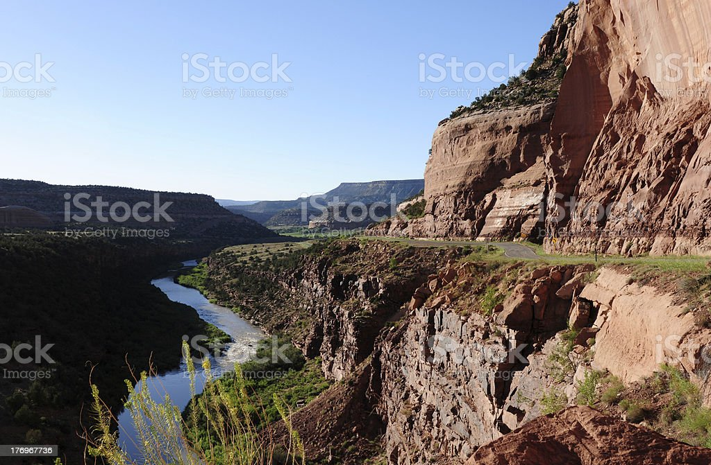 Red Canyon, River and Road stock photo