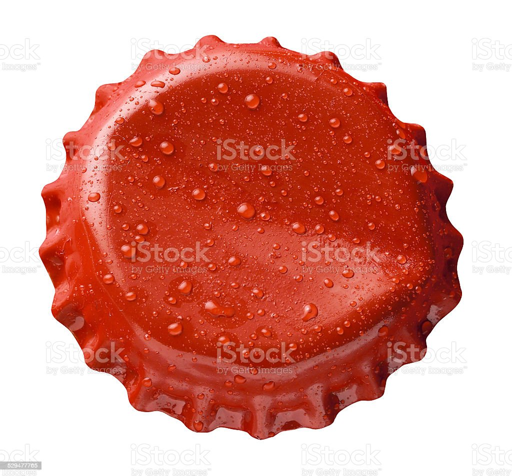 Red cap crown with drops stock photo