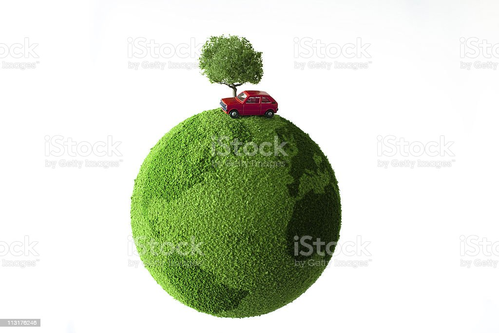 Red car and tree on green earth stock photo