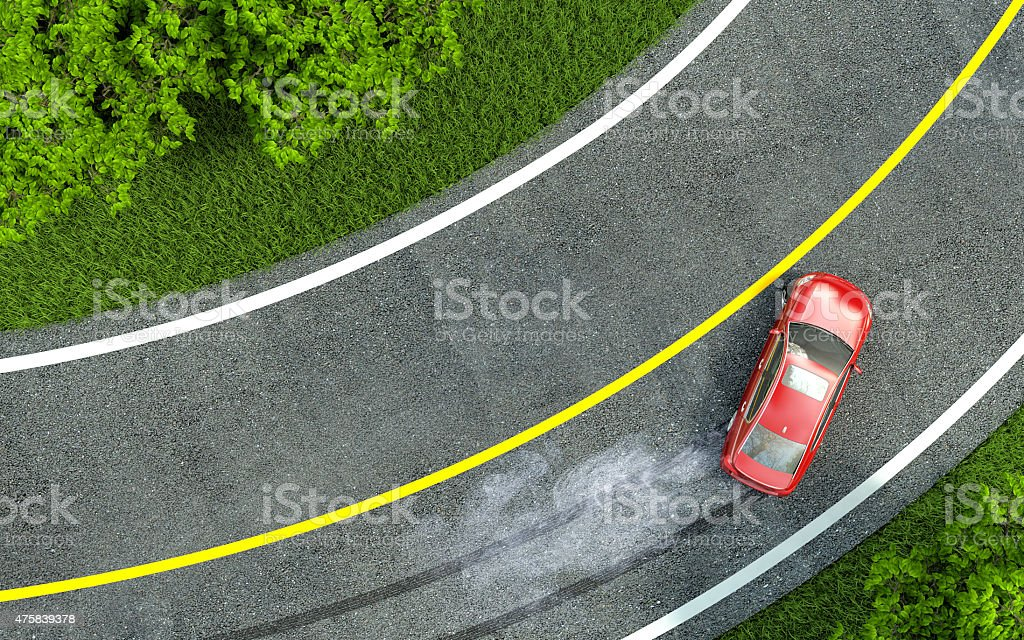 red car enters the turn with skid. stock photo