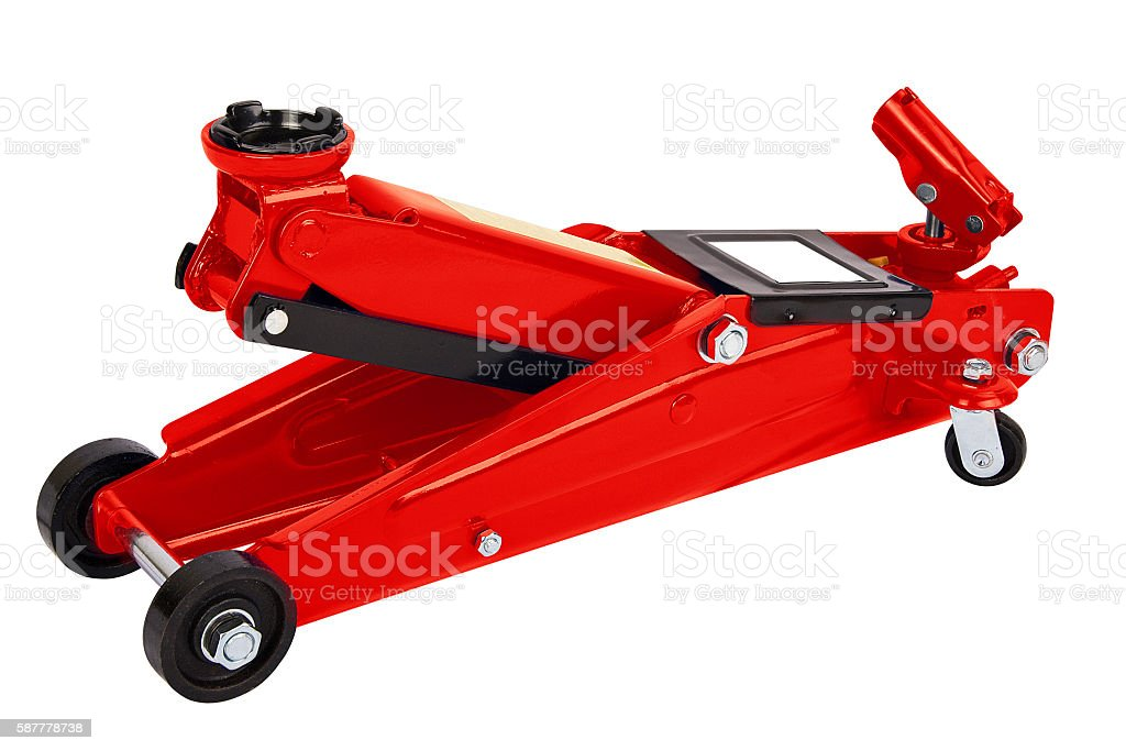 Red car Floor Jack stock photo