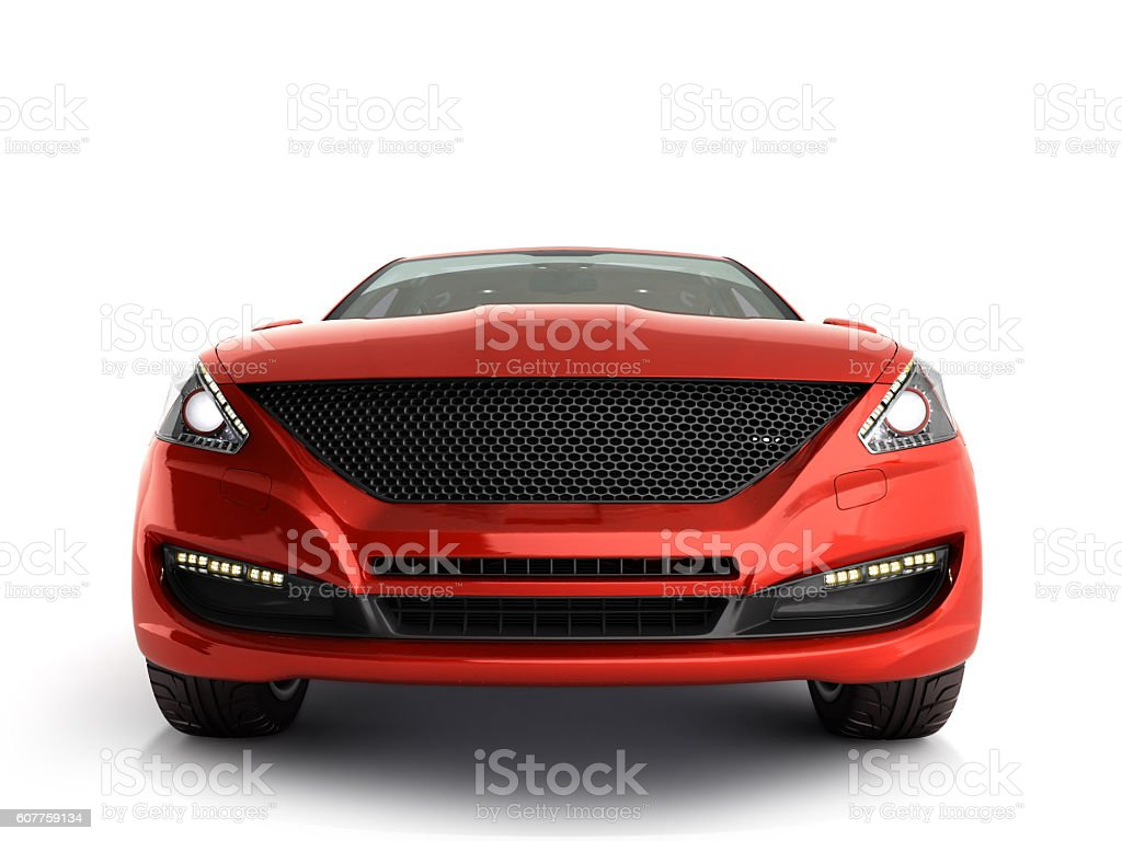 red car front view 3d render on gradient stock photo