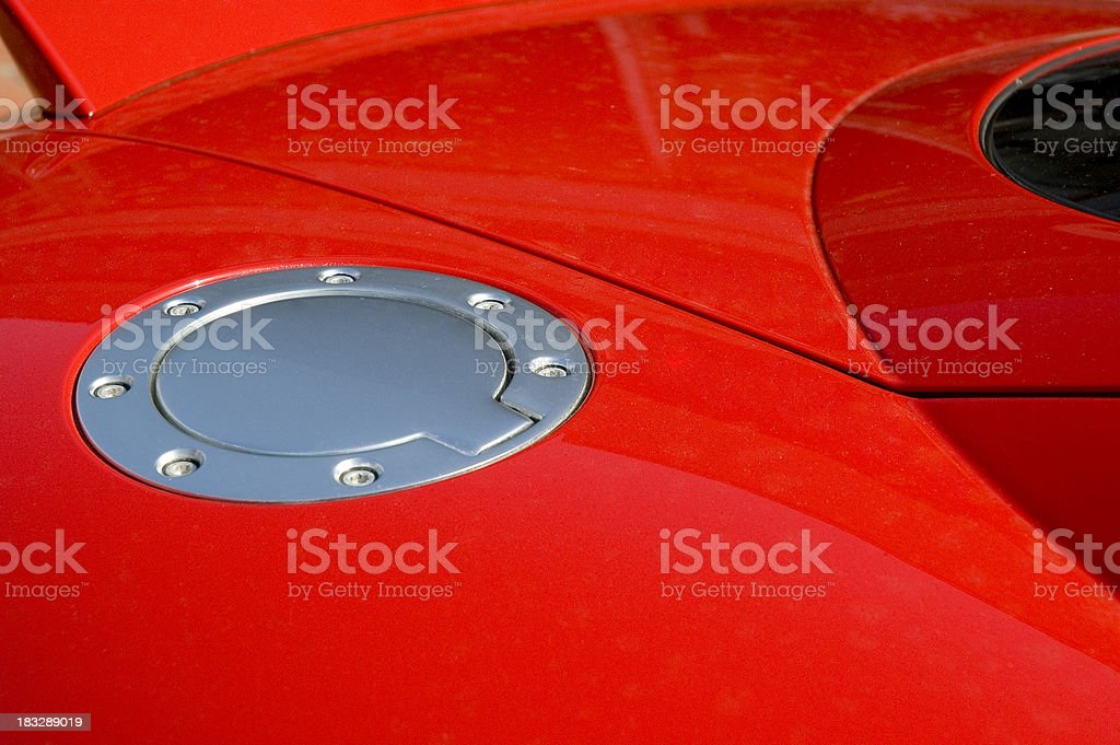 Red car fuel cap royalty-free stock photo