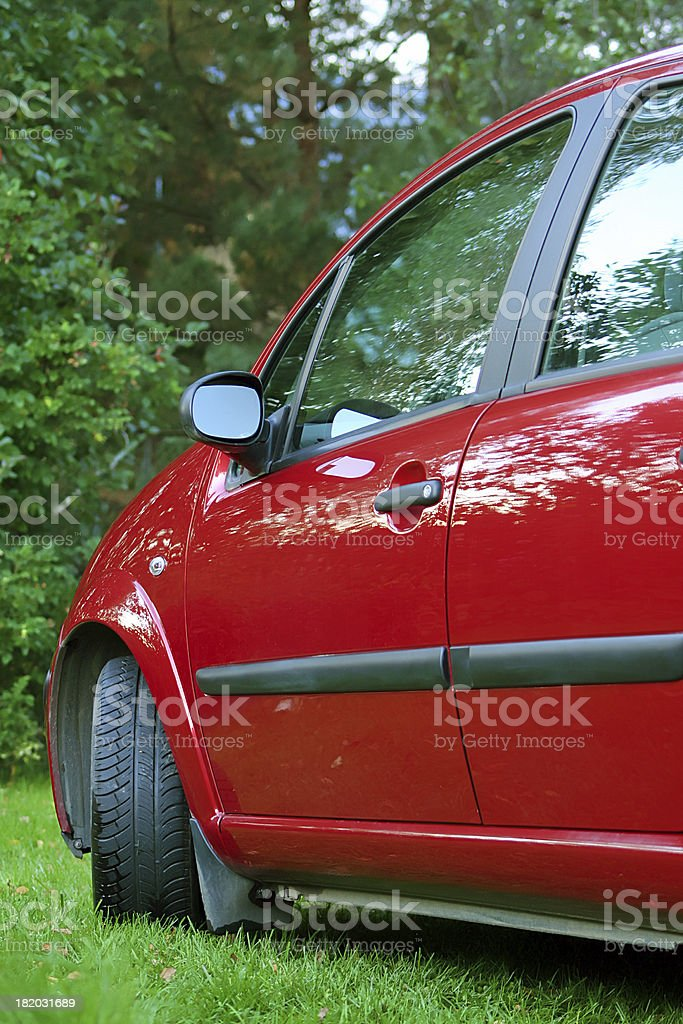 Red car in green region royalty-free stock photo