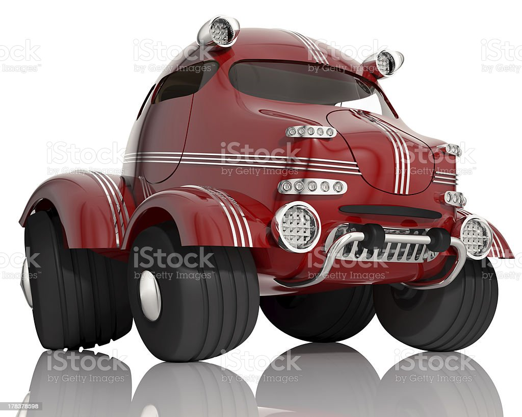Red car isolated on white background, 3d. royalty-free stock photo